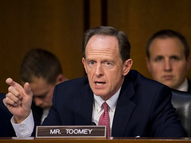 UNITED STATES - NOVEMBER 16: Sen. Pat Toomey, R-Pa., speaks during the mark up of the Senate's tax reform bill in the Senate Finance Committee on Thursday, Nov. 16, 2017. (Photo By Bill Clark/CQ Roll Call)