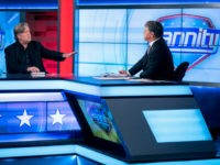 Former White House strategist Steve Bannon, left, takes part in an interview with host Sean Hannity on the set of Fox News Channel's Hannity in New York, Monday, Oct 9, 2017. (AP Photo/Craig Ruttle)