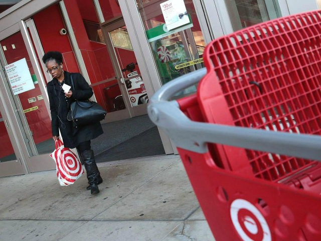 A shopper leaves a Target store on November 16, 2016 in Chicago, Illinois. Target stock closed up more than six percent today after beating third-quarter profit and revenue expectations. (Photo by Scott Olson/Getty Images)