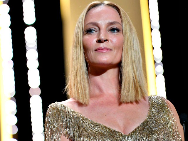 Un Certain Regard jury member Uma Thurman is seen on stage during the Closing Ceremony of the 70th annual Cannes Film Festival at Palais des Festivals on May 28, 2017 in Cannes, France. (Photo by Pascal Le Segretain/Getty Images)