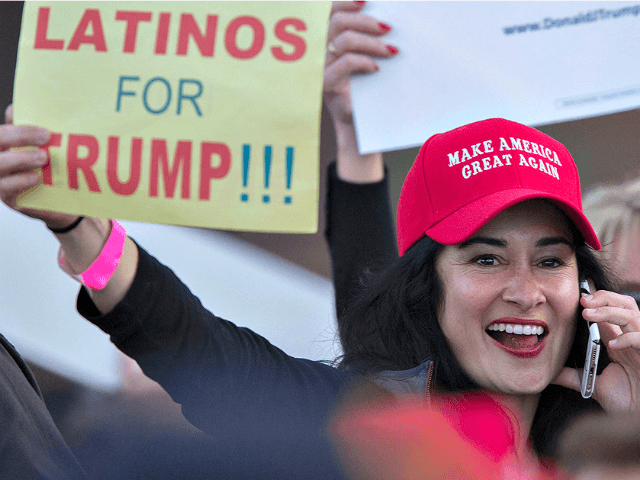 Woman-Latinos for Trump Sign