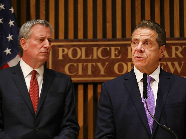 NEW YORK, NY - NOVEMBER 01: New York Governor Andrew Cuomo stands with New York City Mayor Bill de Blasio while speaking at a news conference concerning yesterday's attack along a bike path in lower Manhattan that is being called a terrorist incident on November 1, 2017 in New York …