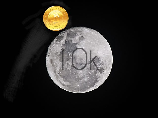 Illustration of Bitcoin rising over the moon -- the coin reached a price of $10,000 on November 28.