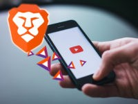 Brave Browser, the BAT (Basic Attention Token) currency, and a smartphone display the YouTube app.