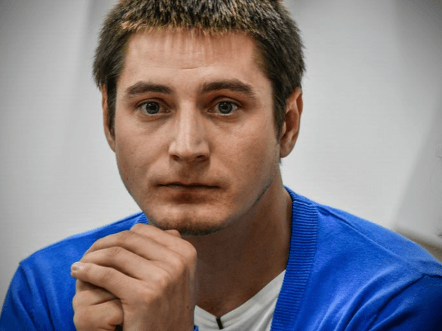 Openly gay Maxim Lapunov, 30, gives a press conference to discuss his detention and torture by police in Chechnya.