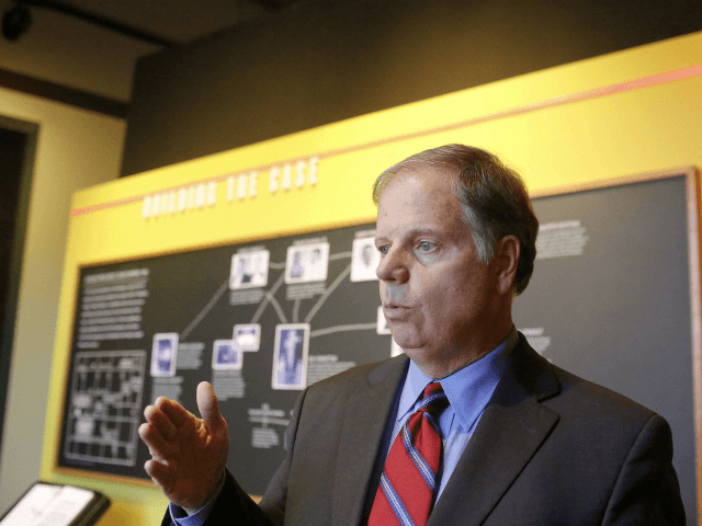 U.S. Senate candidate Doug Jones, speaks to the media about his role in the prosecutions of klansman charged in the 16th Street Baptist Church bombing at the Birmingham Civil Rights Institute, Sunday, Nov. 26, 2017, in Birmingham, Ala. bombing deaths of four young black girls in the 1963 explosion at the 16th Street Baptist Church. (AP Photo/Brynn Anderson)