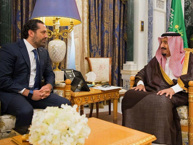 RIYADH, SAUDI ARABIA - NOVEMBER 06: (----EDITORIAL USE ONLY MANDATORY CREDIT - 'BANDAR ALGALOUD / SAUDI ROYAL COUNCIL / HANDOUT' - NO MARKETING NO ADVERTISING CAMPAIGNS - DISTRIBUTED AS A SERVICE TO CLIENTS----) King of Saudi Arabia Salman bin Abdulaziz Al Saud (R) receives Former Prime Minister of Lebanon Saad Hariri (L), who resigned recently, at Palace of Yamamah in Riyadh, Saudi Arabia on November 06, 2017. (Photo by Bandar Algaloud / Saudi Royal Council / Handout/Anadolu Agency/Getty Images)