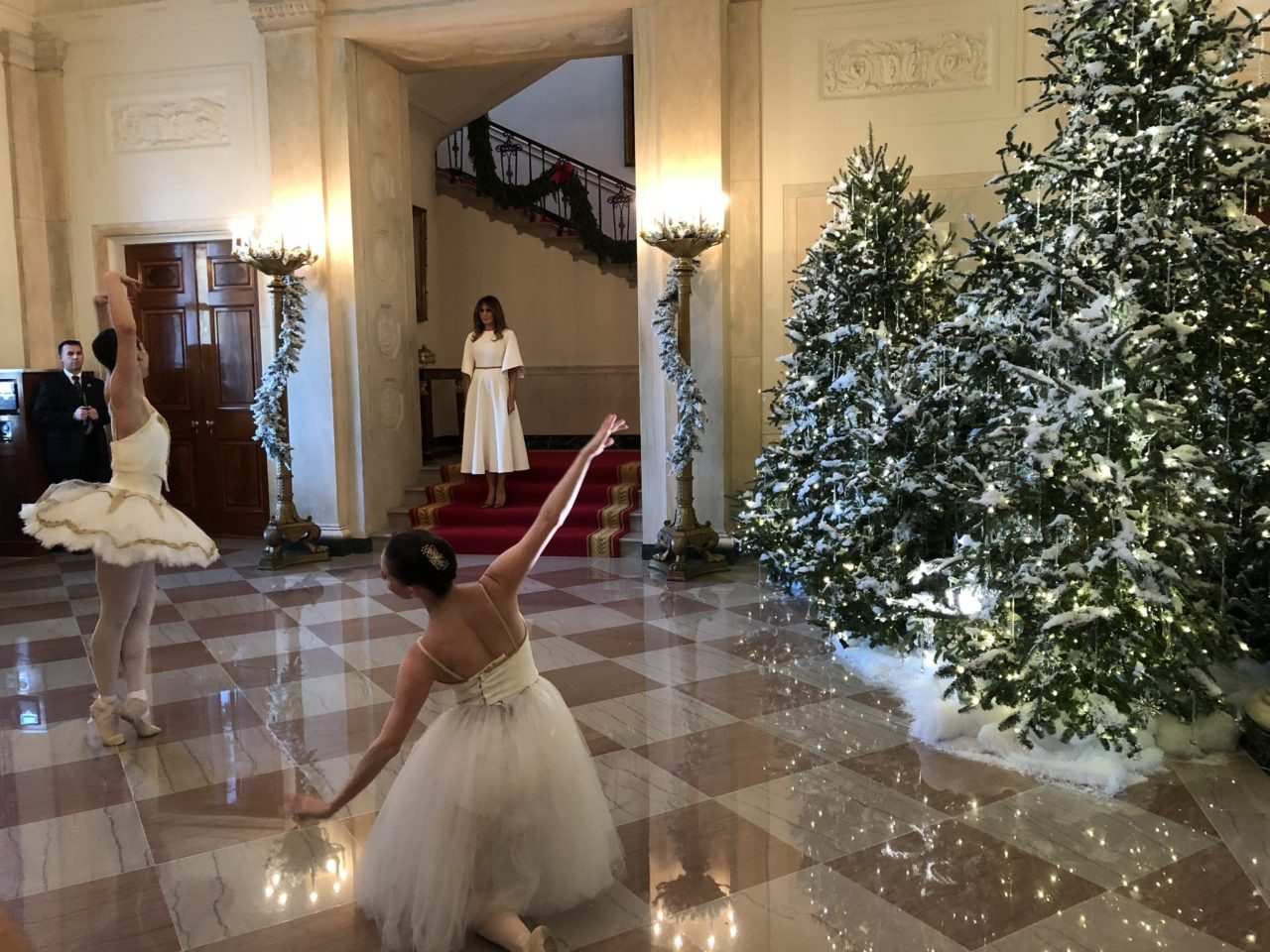 ballet dancers from vivid ballet company perform to live music from the nutcracker in the white house entryway