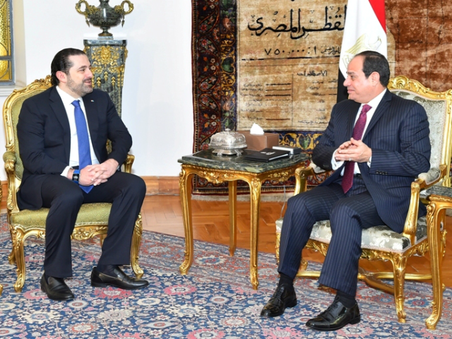 CAIRO, EGYPT - MARCH 22: (----EDITORIAL USE ONLY MANDATORY CREDIT - 'EGYPTIAN PRESIDENCY / HANDOUT' - NO MARKETING NO ADVERTISING CAMPAIGNS - DISTRIBUTED AS A SERVICE TO CLIENTS----) Prime Minister of Lebanon Saad Hariri (L) meets with President of Egypt Abdel Fattah el-Sisi (R) at Al-Ittiadiyyah Palace in Cairo, Egypt …