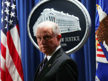 WASHINGTON, DC - NOVEMBER 29: U.S. Attorney General Jeff Sessions listens during a news conference at the Justice Department November 29, 2017 in Washington, DC. Sessions announced the Justice Department will fund more than $12 million in grants to assist law enforcement agencies and to establish a new DEA field …