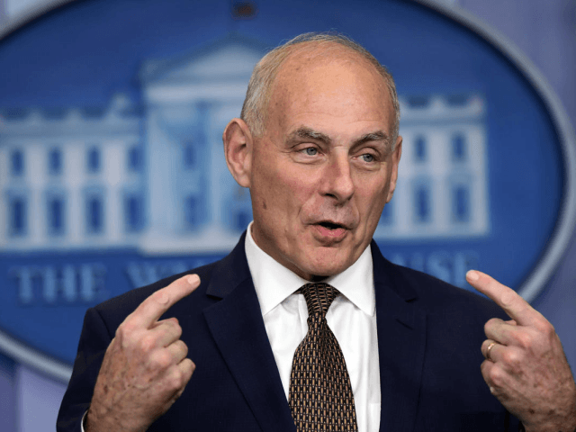 FILE - In this Oct. 12, 2017, file photo, White House Chief of Staff John Kelly speaks during the daily press briefing at the White House in Washington. Some in the military community are furious that Trump has drawn John Kelly's family tragedy into a political brawl. Trump this week suggested that President Barack Obama did not properly console Kelly's family when his son, Robert, was killed in Afghanistan in 2010. (AP Photo/Susan Walsh)
