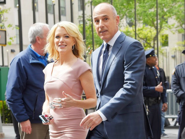 Megyn Kelly walking with Matt Lauer