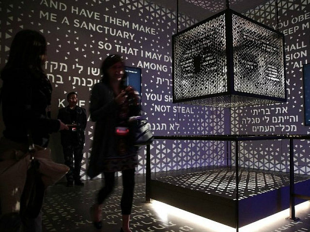 Visitors go through an exhibit on the Old Testament at Museum of the Bible November 15, 2017 in Washington, DC. The 430,000-square-foot museum, with a purpose to invite people to engage with the Bible, will be opened to the public on November 17, 2017. (Photo by Alex Wong/Getty Images)