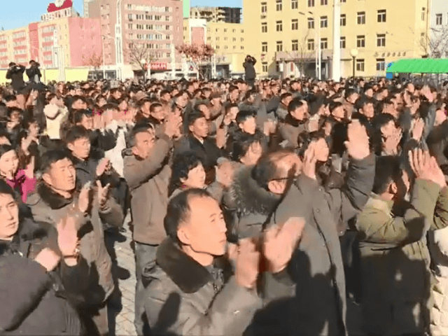 Members of the public watched on as the launch was announced in Pyongyang.