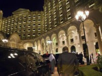 The motorcade carrying US Secretary of State John Kerry arrives at the Ritz-Carlton Hotel early in the morning in Riyadh on January 23, 2016, after a previous stop in Switzerland. The top US diplomat arrived from Switzerland in Saudi Arabia and next heads to Laos, Cambodia and China. AFP PHOTO …