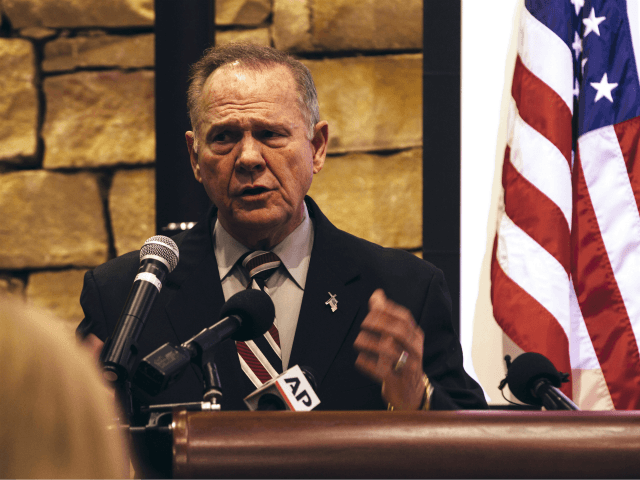 VESTAVIA HILLS, AL - NOVEMBER 11: Republican candidate for U.S. Senate Judge Roy Moore speaks during a mid-Alabama Republican Club's Veterans Day event on November 11, 2017 in Vestavia Hills, Alabama. This week Moore's campaign was brought under scrutiny, after being accused of sexual misconduct with underage girls when he …