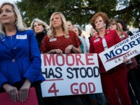 MONTGOMERY, AL - NOVEMBER 17: Women attend a 'Women For Moore' rally in support of Republican candidate for U.S. Senate Judge Roy Moore, in front of the Alabama State Capitol, November 17, 2017 in Montgomery, Alabama. Kayla Moore told the crowd of supporters that her husband will not bow out …