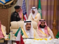 RIYADH, SAUDI ARABIA - MAY 21 : (----EDITORIAL USE ONLY MANDATORY CREDIT - 'BANDAR ALGALOUD / SAUDI ROYAL COUNCIL / HANDOUT' - NO MARKETING NO ADVERTISING CAMPAIGNS - DISTRIBUTED AS A SERVICE TO CLIENTS----) King of Saudi Arabia, Salman bin Abdulaziz Al Saud (C) attends the U.S. - Gulf Summit at King Abdul Aziz International Conference Center in Riyadh, Saudi Arabia May 21, 2017. The meeting is attended by leaders of Saudi Arabia, Qatar, Kuwait, Bahrain, the Crown Prince of Abu Dhabi and Omans deputy prime minister. (Photo by BANDAR ALGALOUD / SAUDI ROYAL COUNCIL / HANDOUT/Anadolu Agency/Getty Images)