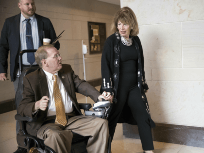 Rep. Jackie Speier, D-Calif., center, speaks with Rep. Jim Langevin, D-R.I., left, as they leave a Democratic gathering on Capitol Hill in Washington, Friday, Nov. 3, 2017. Speier has recently gone public with an account of being sexually assaulted by a male chief of staff while she was a congressional …