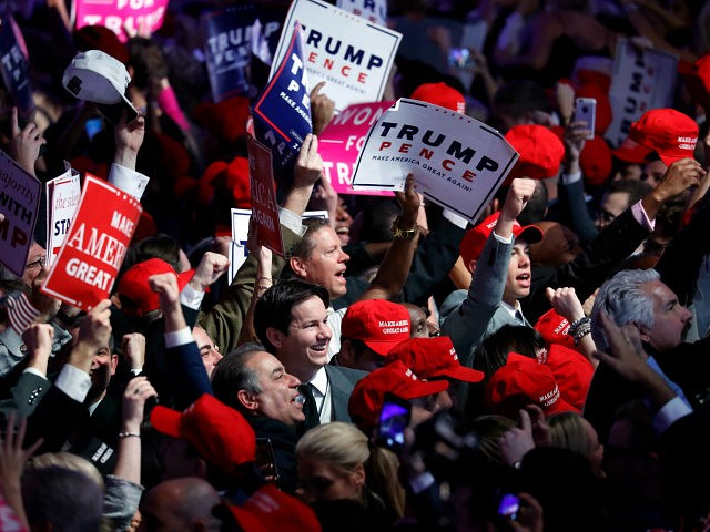 Supporters cheer as they wait for President-elect Donald Trump to give his acceptance speech during his election night rally, Wednesday, Nov. 9, 2016, in New York. (AP Photo/Mary Altaffer)