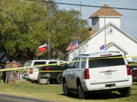 SUTHERLAND SPRINGS, TX - NOVEMBER 5: Law enforcement officials gather near the First Baptist Church following a shooting on November 5, 2017 in Sutherland Springs, Texas. At least 20 people were reportedly killed and 24 injured when a gunman, identified as Devin P. Kelley, 26, allegedly entered the church during …