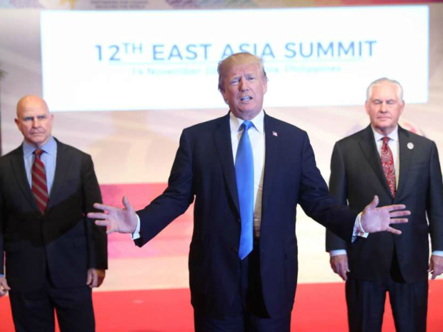 Flanked by U.S. National Security Advisor H.R. McMaster, left, and U.S. Secretary of State Rex Tillerson, right, U.S. President Donald Trump offers a departing statement after participating in an East Asia Summit, Tuesday, Nov. 14, 2017, in Manila, Philippines. Trump is on a five country trip through Asia traveling to …