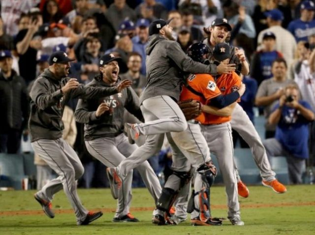 The Houston Astros celebrate defeating the Los Angeles Dodgers 5-1 in game seven to win the 2017 World Series at Dodger Stadium