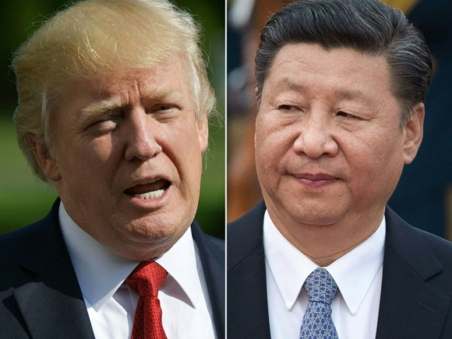 "US President Donald Trump, left, said that Chinese President Xi Jinping has been ""pretty terrific"" on North Korea, and that ""China is helping us"""