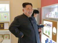 This undated picture released from North Korea's official Korean Central News Agency (KCNA) on October 29, 2017 shows North Korean leader Kim Jong-Un (C) inspecting the Pyongyang Cosmetics Factory