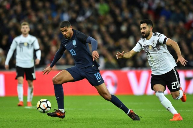 England's Ruben Loftus-Cheek (L) controls the ball chased by Germany's Ilkay Gundogan (R) during the friendly international football match between England and Germany at Wembley Stadium in London on November 10, 2017