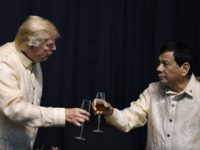 Trump (L) has so far appeared to be a fan of Duterte (R)