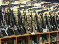 A weapons display in a gun shop in Las Vegas