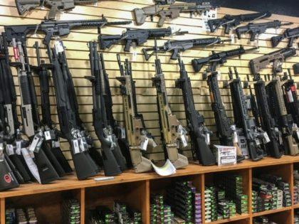 A weapons display in a gun shop in Las Vegas