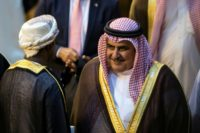 Bahrain Foreign Minister Shaikh Khalid Bin Ahmed Al-Khalifa an Arab League meeting called by Riyadh