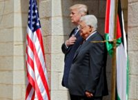 Palestinian president Mahmud Abbas (R) welcomes US counterpart Donald Trump to the West Bank town of Bethlehem on May 23, 2017