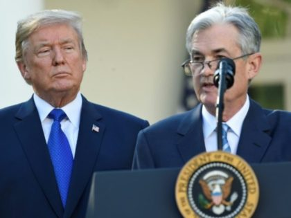 Jerome Powell (R) speaks after being nominated for Chairman of the Federal Reserve by US President Donald Trump (L) in the Rose Garden of the White House in Washington, DC on November 2, 2017