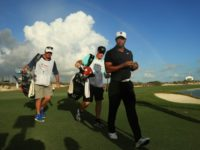 Tiger Woods of the United States walks off of the 18th green during the first round of the Hero World Challenge at Albany, Bahamas on November 30, 2017 in Nassau, Bahamas