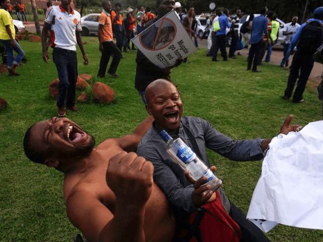 Escenas de celebración en las calles de Harare tras el anuncio de dimisión de Robert Mugabe