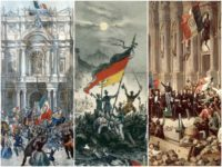 Main Photo Credits (left to right): Giuseppe Garibaldi entering Naples in 1860 by Franz Wenzel Schwarz (Public Domain / Wikimedia Commons), Revolutionaries in Berlin waving revolutionary flags in March 1848, by Unknown (Public Domain / Wikimedia Commons), Lamartine in front of the Town Hall of Paris rejecting the red flag …