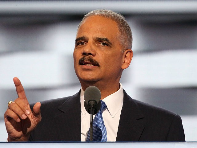 PHILADELPHIA, PA - JULY 26: Former U.S. Attorney General Eric Holder delivers remarks on the second day of the 2016 Democratic National Convention at Wells Fargo Center on July 26, 2016 in Philadelphia, Pennsylvania. An estimated 50,000 people are expected in Philadelphia, including hundreds of protesters and members of the media. The four-day Democratic National Convention kicked off July 25. (Photo by Paul Morigi/WireImage)