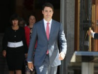 Canadian Prime Minister Justin Trudeau arrives to speak to the press outside Rideau Hall after announcing changes to his cabinet in Ottawa, Ontario on August 28, 2017. / AFP PHOTO / Lars Hagberg (Photo credit should read LARS HAGBERG/AFP/Getty Images)