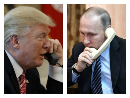 Collage of Trump on the phone and Putin on the phone