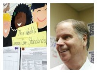 Collage of Common Core billboard and Doug Jones smiling