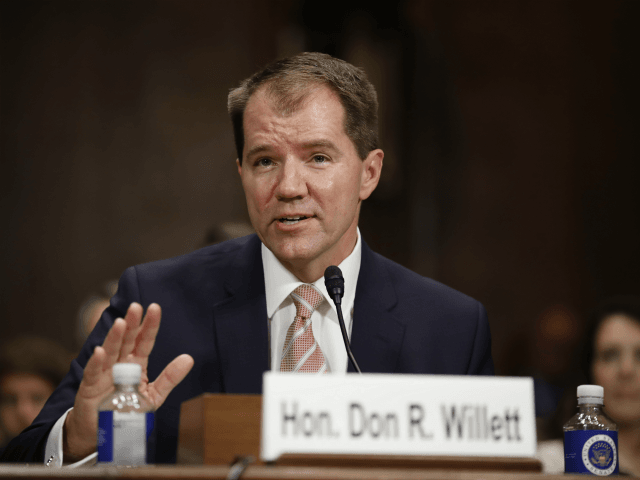 Don Willett testifies during a Senate Judiciary Committee hearing on nominations on Capitol Hill in Washington, Wednesday, Nov. 15, 2017. Willett has been nominated to be United States Circuit Judge For The Fifth Circuit. (AP Photo/Carolyn Kaster)