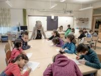 HALMSTAD, SWEDEN - FEBRUARY 08: Refugee children are seen in a school on February 8, 2016 in Halmstad, Sweden. Last year Sweden received 162,877 asylum applications, more than any European country proportionate to its population. According to the Swedish Migration Agency, Sweden housed more than 180,000 people in 2015, more …