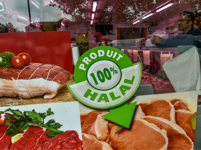 A photo taken on August 2, 2016 shows the entrance of a halal butchery in Lille, northern France. The question of the financing of the Muslim Faith, now considered to be insufficiently transparent, continues to shake the political class, after a new opinion pirce by French Prime Minister Manuel Valls …