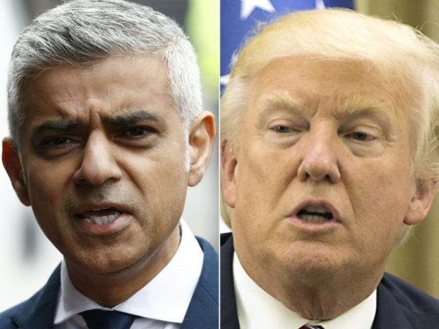 This combination of files pictures created on June 5, 2017 shows Mayor of London Sadiq Khan after visiting Borough High Street in London on June 5, 2017, the site of the June 3 terror attack, near to Borough Market and US President Donald Trump during his meeting with the Israeli …