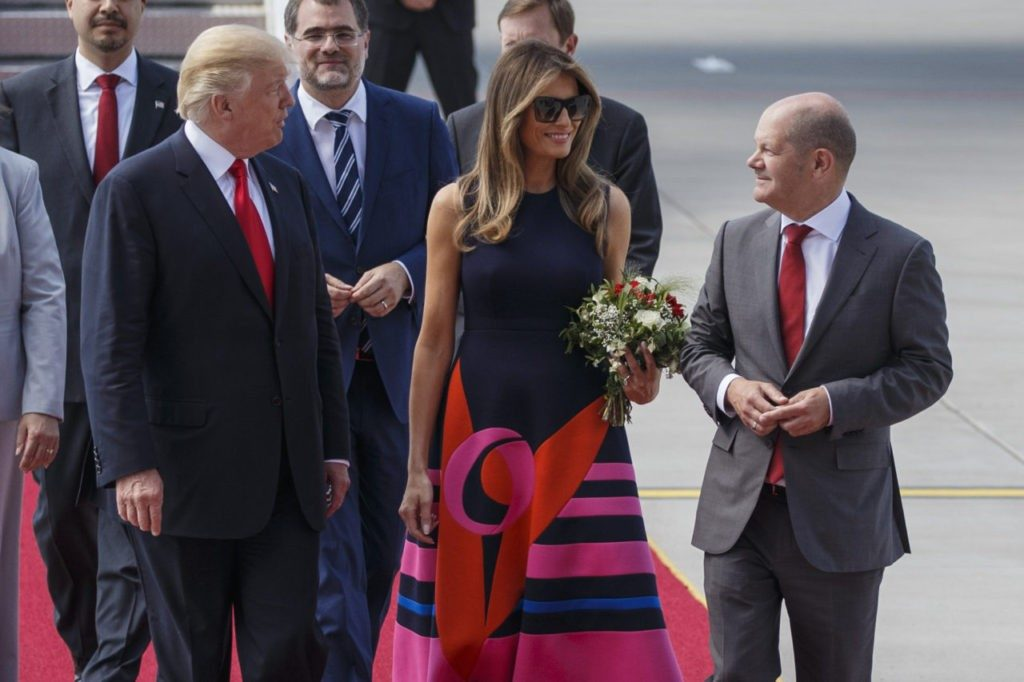 U.S. President Donald J. Trump and the first lady Melania Trump are welcomed by Hamburg's Mayor Olaf Scholz as they arrive at Hamburg Airport for the Hamburg G20 economic summit on July 6, 2017 in Hamburg, Germany. (Morris MacMatzen/Getty Images)