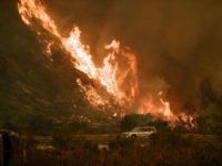 TOPSHOT - Vehicles pass beside a wall of flames on the 101 highway as it reaches the coast during the Thomas wildfire near Ventura, California on December 6, 2017. California motorists commuted past a blazing inferno Wednesday as wind-whipped wildfires raged across the Los Angeles region, with flames triggering the …