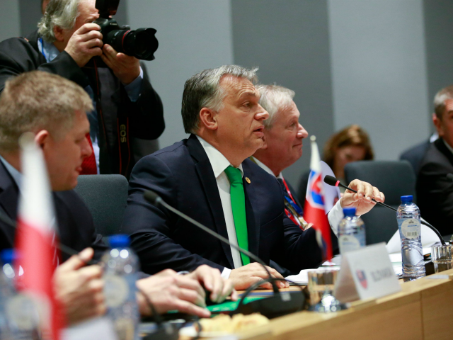 Slovakian Prime Minister Robert Fico, Hungarian Prime Minister Viktor Orban and Czech Prime Minister Andrej Babis attend a Visegrad group meeting in Brussels on December 14, 2017. / AFP PHOTO / POOL / OLIVIER HOSLET (Photo credit should read OLIVIER HOSLET/AFP/Getty Images)